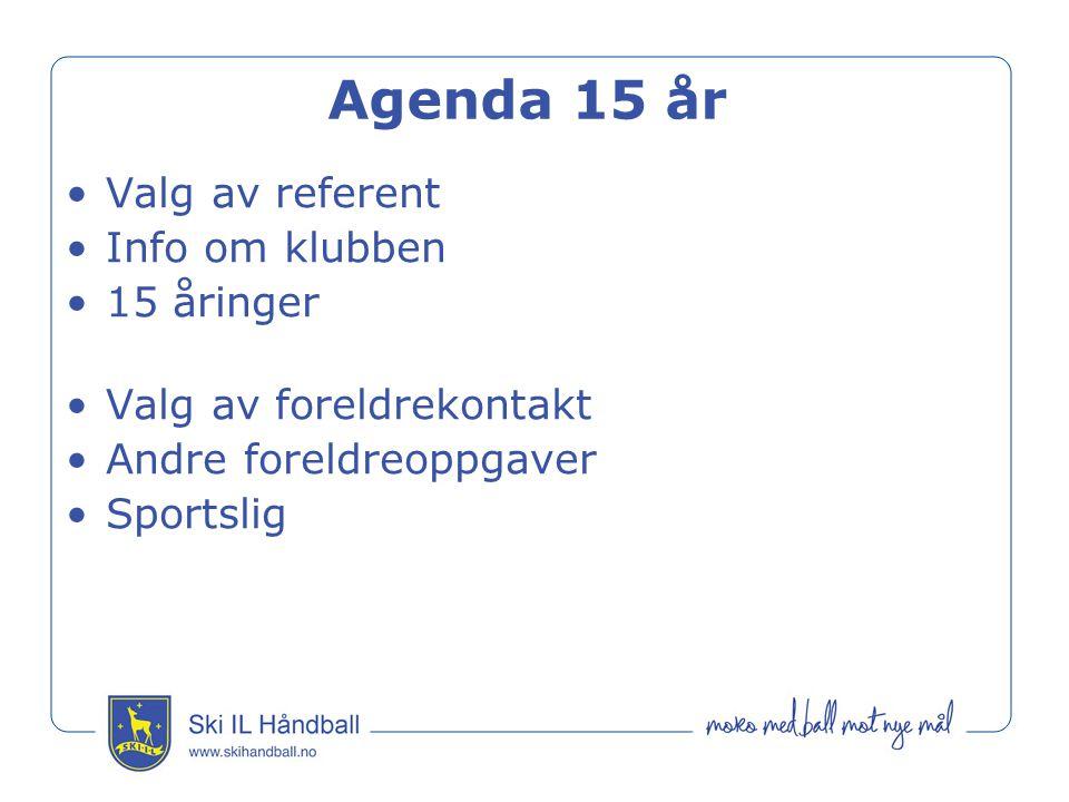 Agenda 15 år Valg av referent Info om klubben 15 åringer Valg av foreldrekontakt Andre foreldreoppgaver Sportslig
