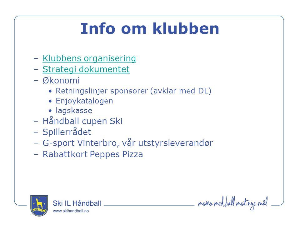 Info om klubben –Klubbens organiseringKlubbens organisering –Strategi dokumentetStrategi dokumentet –Økonomi Retningslinjer sponsorer (avklar med DL)