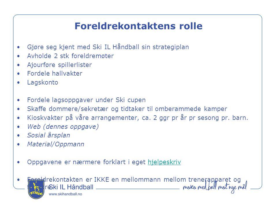 Foreldrekontaktens rolle Gjøre seg kjent med Ski IL Håndball sin strategiplan Avholde 2 stk foreldremøter Ajourføre spillerlister Fordele hallvakter L