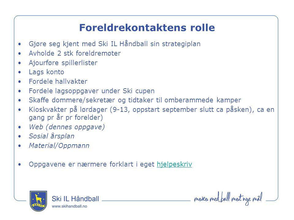 Foreldrekontaktens rolle Gjøre seg kjent med Ski IL Håndball sin strategiplan Avholde 2 stk foreldremøter Ajourføre spillerlister Lags konto Fordele h