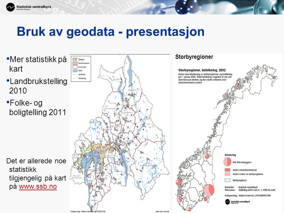 10 Bruk av geodata - presentasjon Mer statistikk på kart Landbrukstelling 2010 Folke- og boligtelling 2011 Det er allerede noe statistikk tilgjengelig på kart på www.ssb.nowww.ssb.no