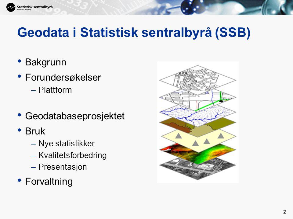 2 Geodata i Statistisk sentralbyrå (SSB) Bakgrunn Forundersøkelser –Plattform Geodatabaseprosjektet Bruk –Nye statistikker –Kvalitetsforbedring –Presentasjon Forvaltning