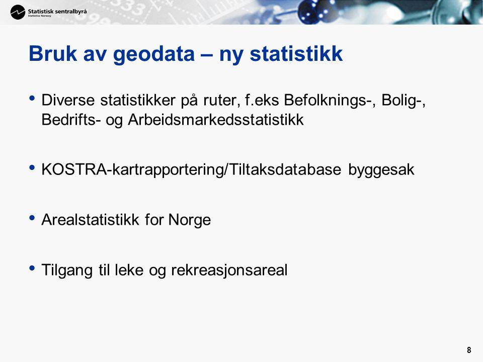 8 Bruk av geodata – ny statistikk Diverse statistikker på ruter, f.eks Befolknings-, Bolig-, Bedrifts- og Arbeidsmarkedsstatistikk KOSTRA-kartrapportering/Tiltaksdatabase byggesak Arealstatistikk for Norge Tilgang til leke og rekreasjonsareal