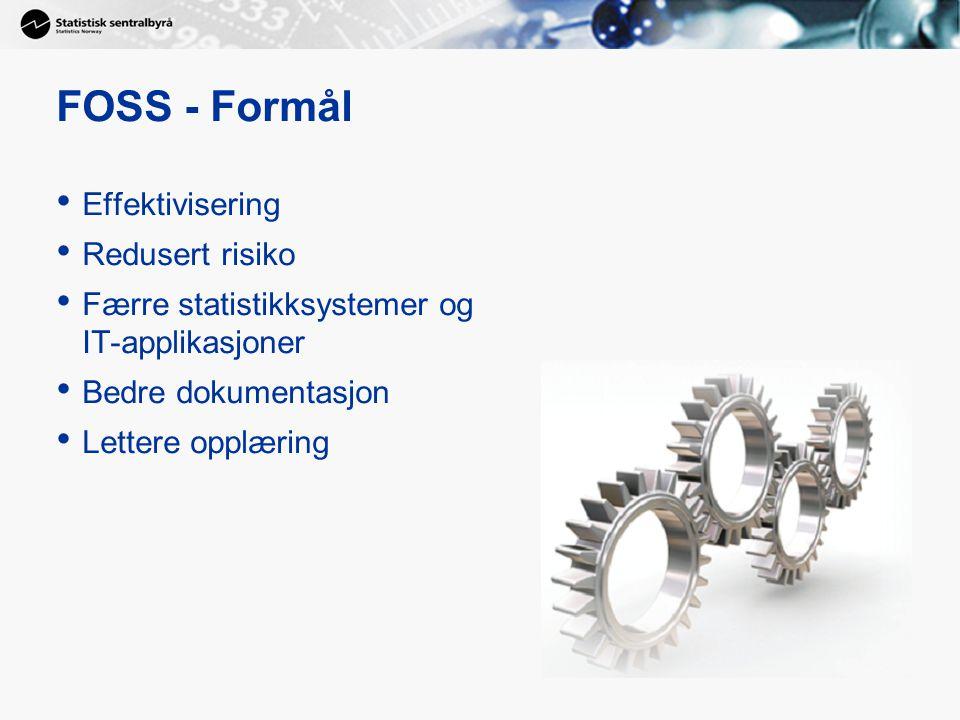 FOSS - Formål Effektivisering Redusert risiko Færre statistikksystemer og IT-applikasjoner Bedre dokumentasjon Lettere opplæring