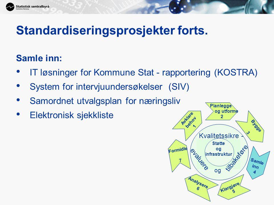 Standardiseringsprosjekter forts. Samle inn: IT løsninger for Kommune Stat - rapportering (KOSTRA) System for intervjuundersøkelser (SIV) Samordnet ut