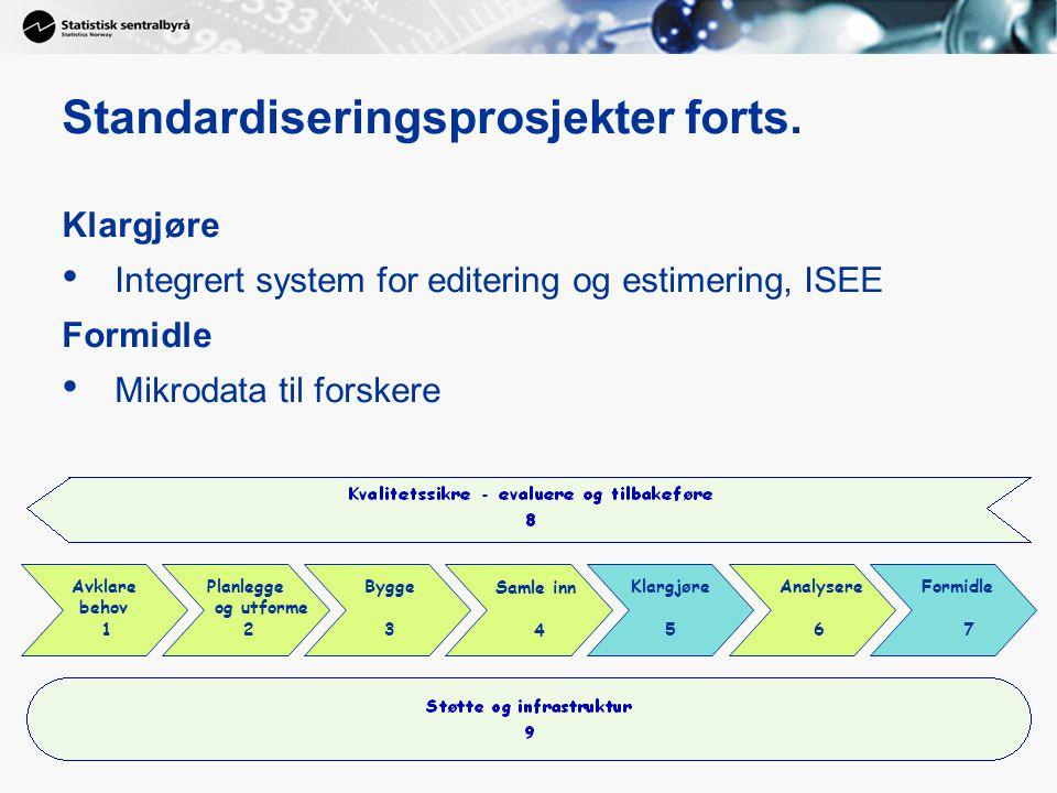 Standardiseringsprosjekter forts. Klargjøre Integrert system for editering og estimering, ISEE Formidle Mikrodata til forskere Planlegge og utforme 2