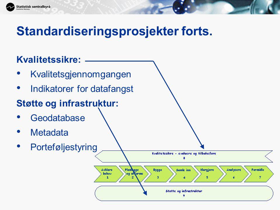 Standardiseringsprosjekter forts. Kvalitetssikre: Kvalitetsgjennomgangen Indikatorer for datafangst Støtte og infrastruktur: Geodatabase Metadata Port