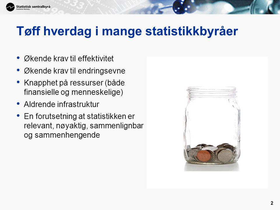 2 Tøff hverdag i mange statistikkbyråer Økende krav til effektivitet Økende krav til endringsevne Knapphet på ressurser (både finansielle og menneskel
