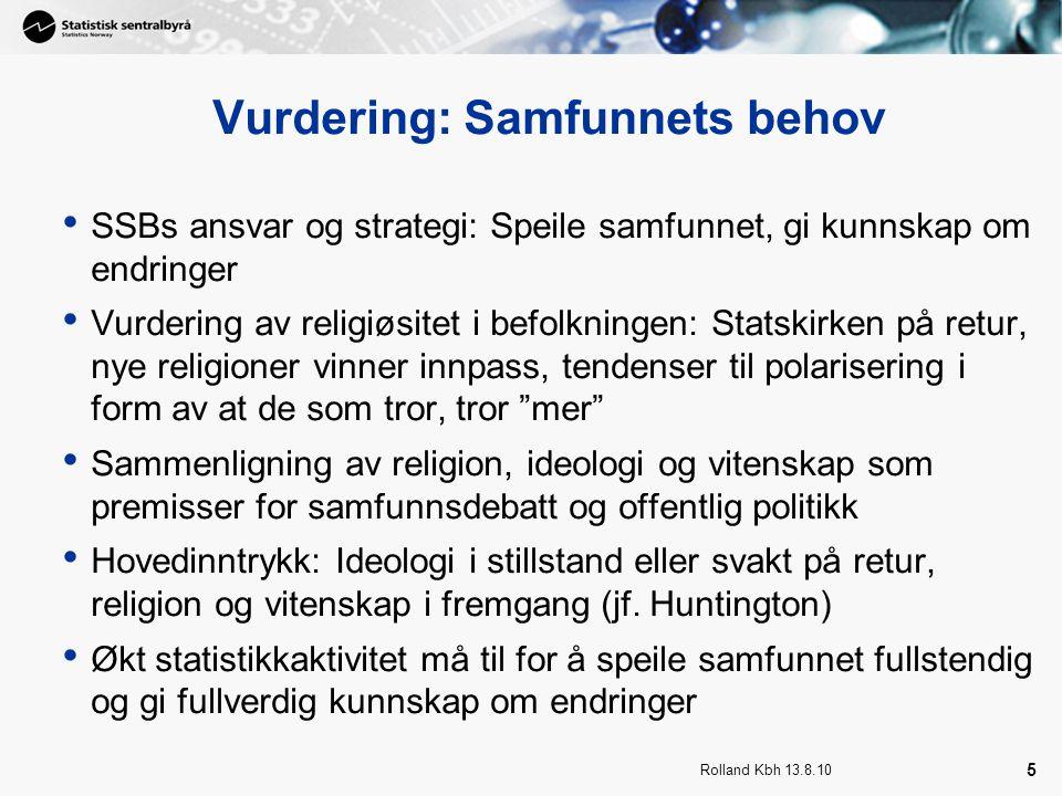 Rolland Kbh 13.8.10 5 Vurdering: Samfunnets behov SSBs ansvar og strategi: Speile samfunnet, gi kunnskap om endringer Vurdering av religiøsitet i befo