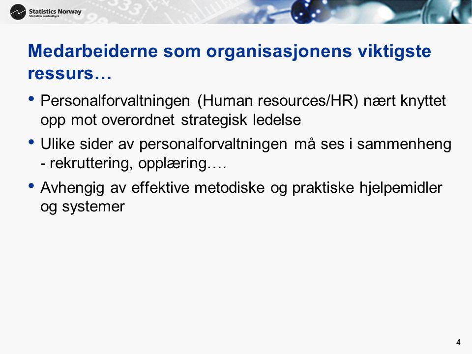 4 Medarbeiderne som organisasjonens viktigste ressurs… Personalforvaltningen (Human resources/HR) nært knyttet opp mot overordnet strategisk ledelse U