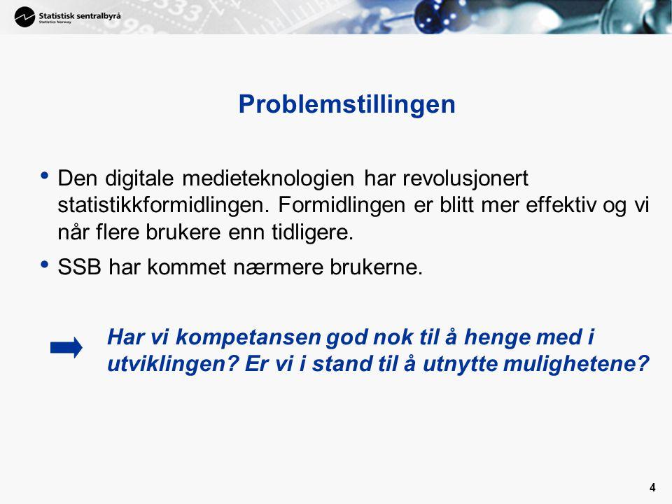 4 Problemstillingen Den digitale medieteknologien har revolusjonert statistikkformidlingen. Formidlingen er blitt mer effektiv og vi når flere brukere
