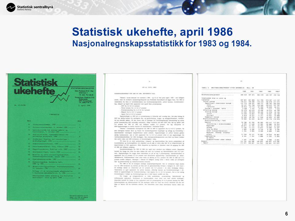 6 Statistisk ukehefte, april 1986 Nasjonalregnskapsstatistikk for 1983 og 1984.