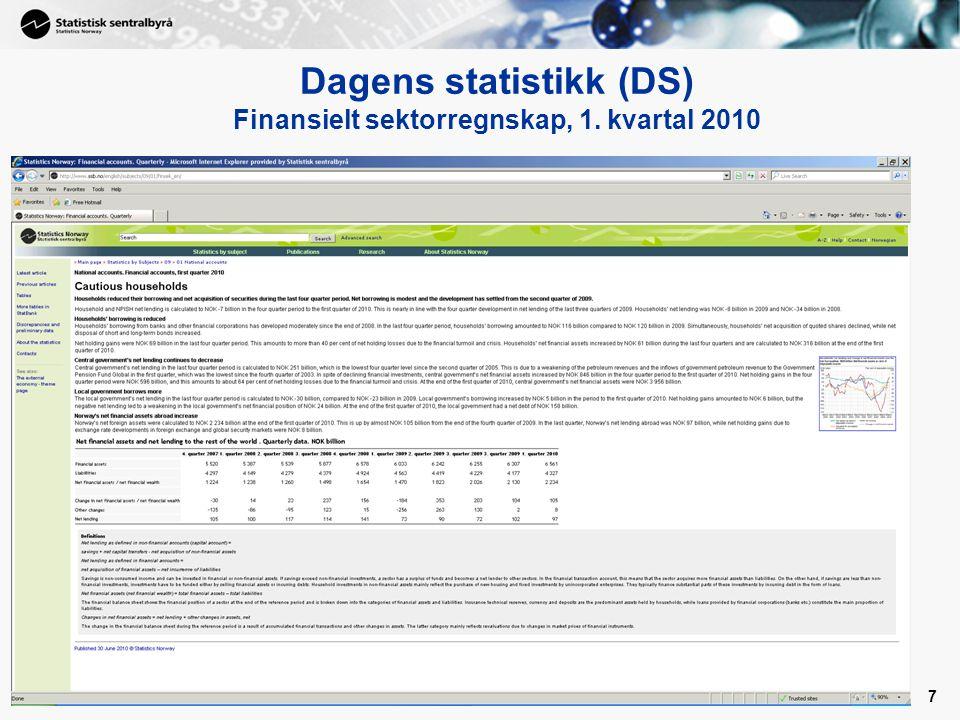 7 Dagens statistikk (DS) Finansielt sektorregnskap, 1. kvartal 2010