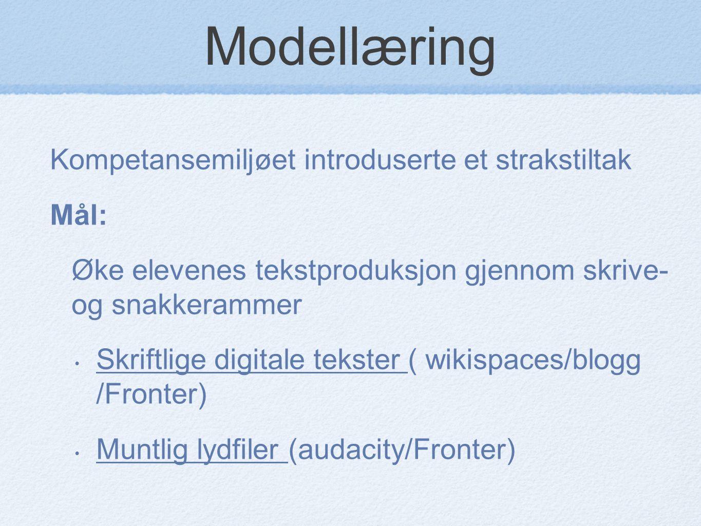 Modellæring Kompetansemiljøet introduserte et strakstiltak Mål: Øke elevenes tekstproduksjon gjennom skrive- og snakkerammer Skriftlige digitale tekst