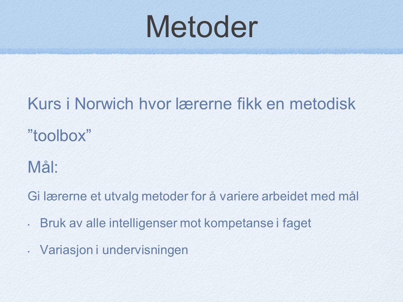 """Metoder Kurs i Norwich hvor lærerne fikk en metodisk """"toolbox"""" Mål: Gi lærerne et utvalg metoder for å variere arbeidet med mål Bruk av alle intellige"""