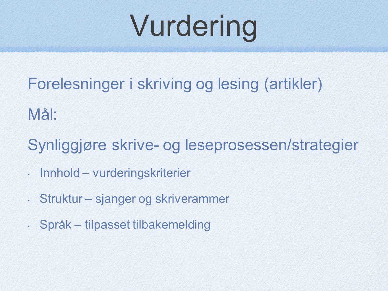 Vurdering Forelesninger i skriving og lesing (artikler) Mål: Synliggjøre skrive- og leseprosessen/strategier Innhold – vurderingskriterier Struktur –