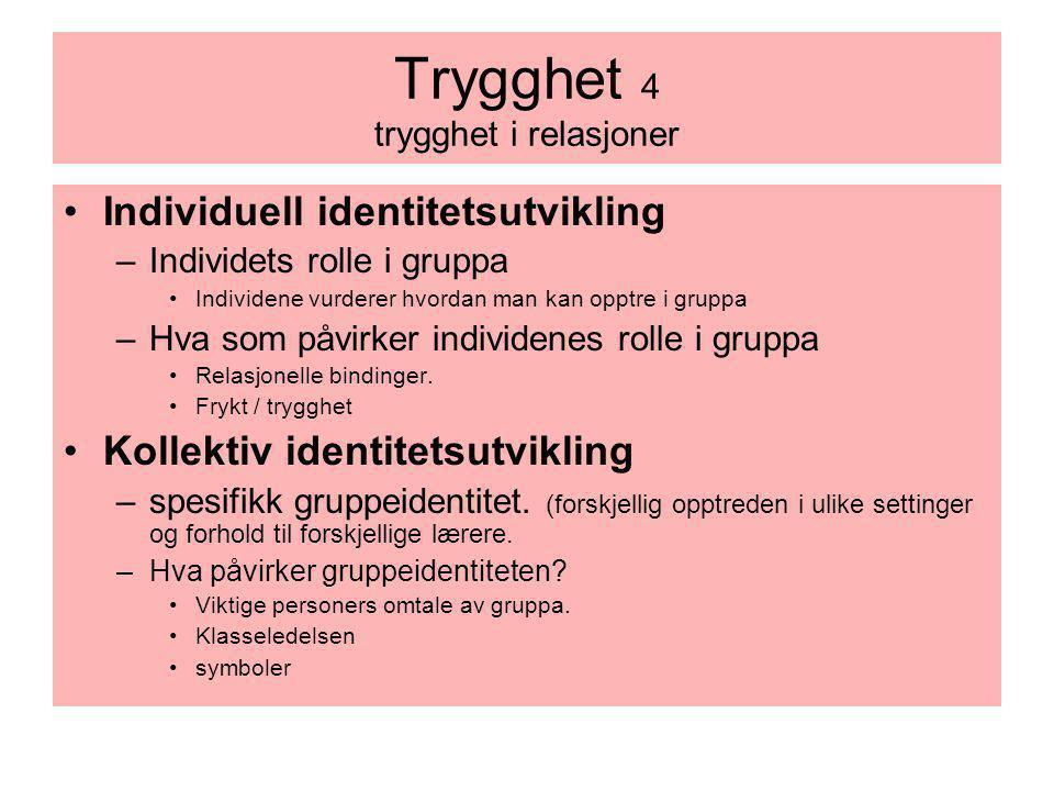 Trygghet 4 trygghet i relasjoner Individuell identitetsutvikling –Individets rolle i gruppa Individene vurderer hvordan man kan opptre i gruppa –Hva s