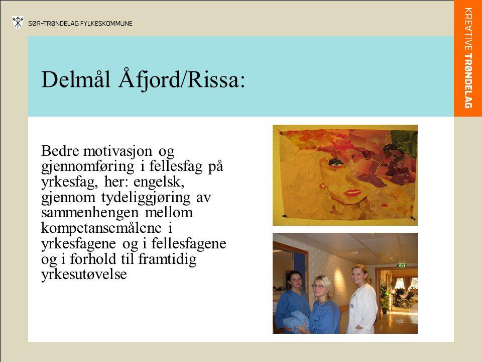 Delmål Åfjord/Rissa: Bedre motivasjon og gjennomføring i fellesfag på yrkesfag, her: engelsk, gjennom tydeliggjøring av sammenhengen mellom kompetansemålene i yrkesfagene og i fellesfagene og i forhold til framtidig yrkesutøvelse