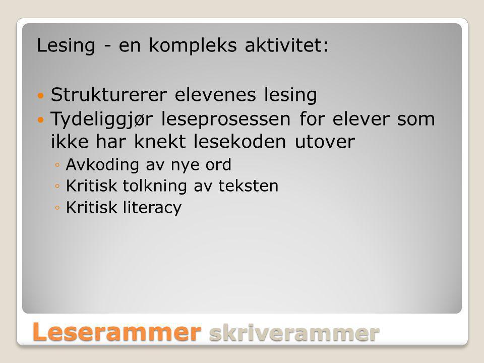 Leserammer skriverammer Lesing - en kompleks aktivitet: Strukturerer elevenes lesing Tydeliggjør leseprosessen for elever som ikke har knekt lesekoden