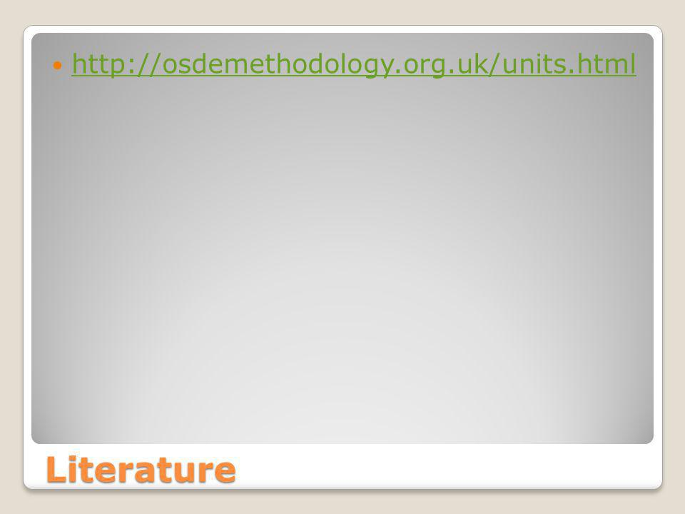 Literature http://osdemethodology.org.uk/units.html