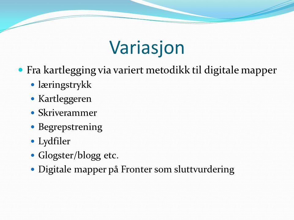Variasjon Fra kartlegging via variert metodikk til digitale mapper læringstrykk Kartleggeren Skriverammer Begrepstrening Lydfiler Glogster/blogg etc.