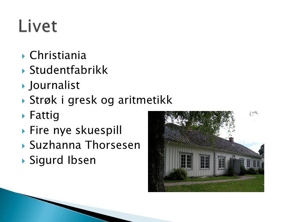  Christiania  Studentfabrikk  Journalist  Strøk i gresk og aritmetikk  Fattig  Fire nye skuespill  Suzhanna Thorsesen  Sigurd Ibsen