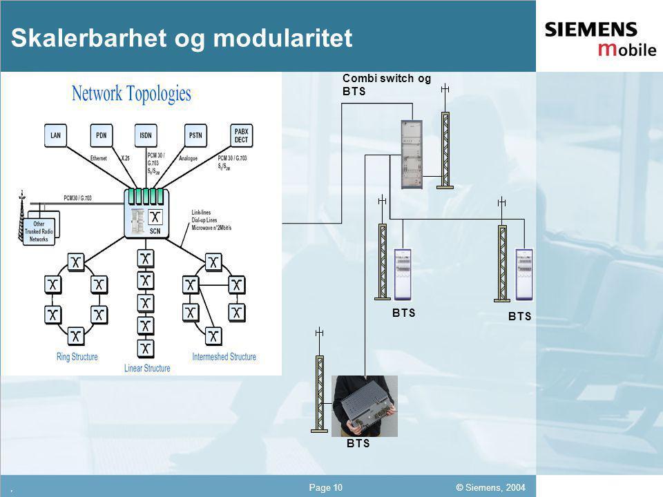 © Siemens, 2004 12,302,337,422,54 12,30 5,93 1,06 1,27 8,27,Page 10 Skalerbarhet og modularitet Combi switch og BTS BTS