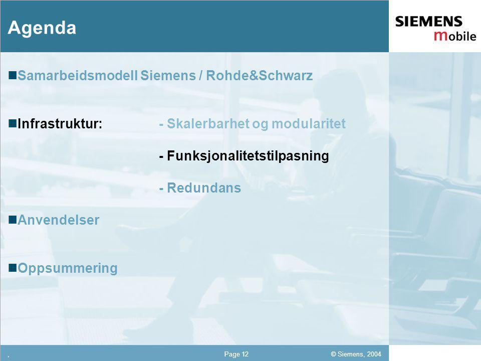 © Siemens, 2004 12,302,337,422,54 12,30 5,93 1,06 1,27 8,27,Page 12 Agenda Samarbeidsmodell Siemens / Rohde&Schwarz Infrastruktur: - Skalerbarhet og modularitet - Funksjonalitetstilpasning - Redundans Anvendelser Oppsummering