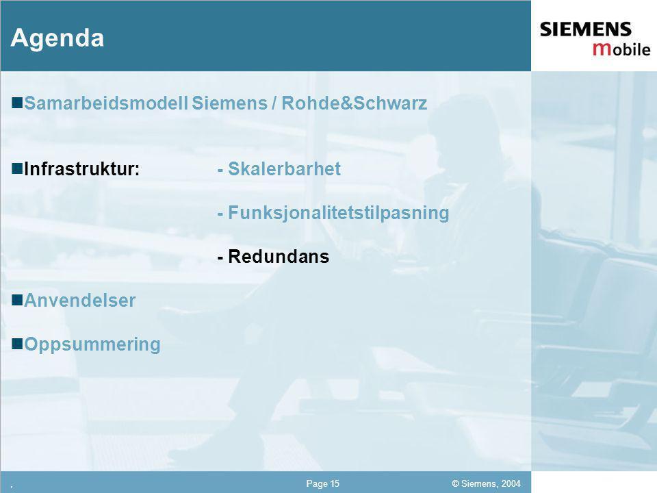 © Siemens, 2004 12,302,337,422,54 12,30 5,93 1,06 1,27 8,27,Page 15 Agenda Samarbeidsmodell Siemens / Rohde&Schwarz Infrastruktur: - Skalerbarhet - Funksjonalitetstilpasning - Redundans Anvendelser Oppsummering