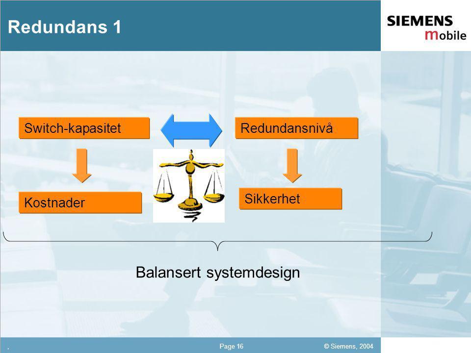 © Siemens, 2004 12,302,337,422,54 12,30 5,93 1,06 1,27 8,27,Page 16 Redundans 1 Balansert systemdesign RedundansnivåSwitch-kapasitet Sikkerhet Kostnader