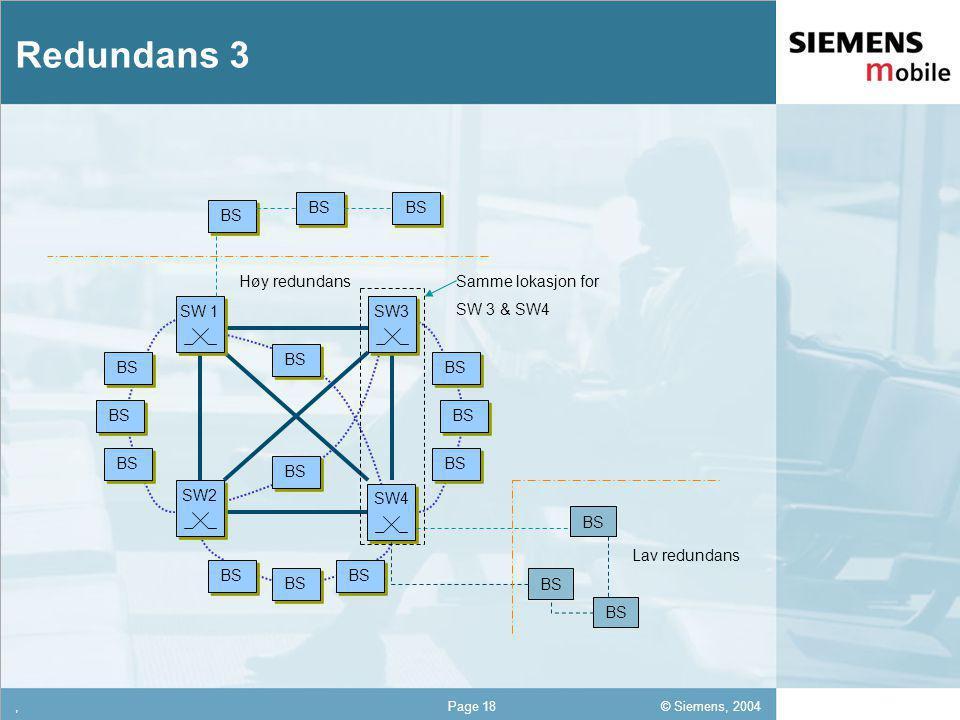 © Siemens, 2004 12,302,337,422,54 12,30 5,93 1,06 1,27 8,27,Page 18 Redundans 3 BS SW3 SW2 BS SW 1 SW4 BS Høy redundans Lav redundans Samme lokasjon for SW 3 & SW4
