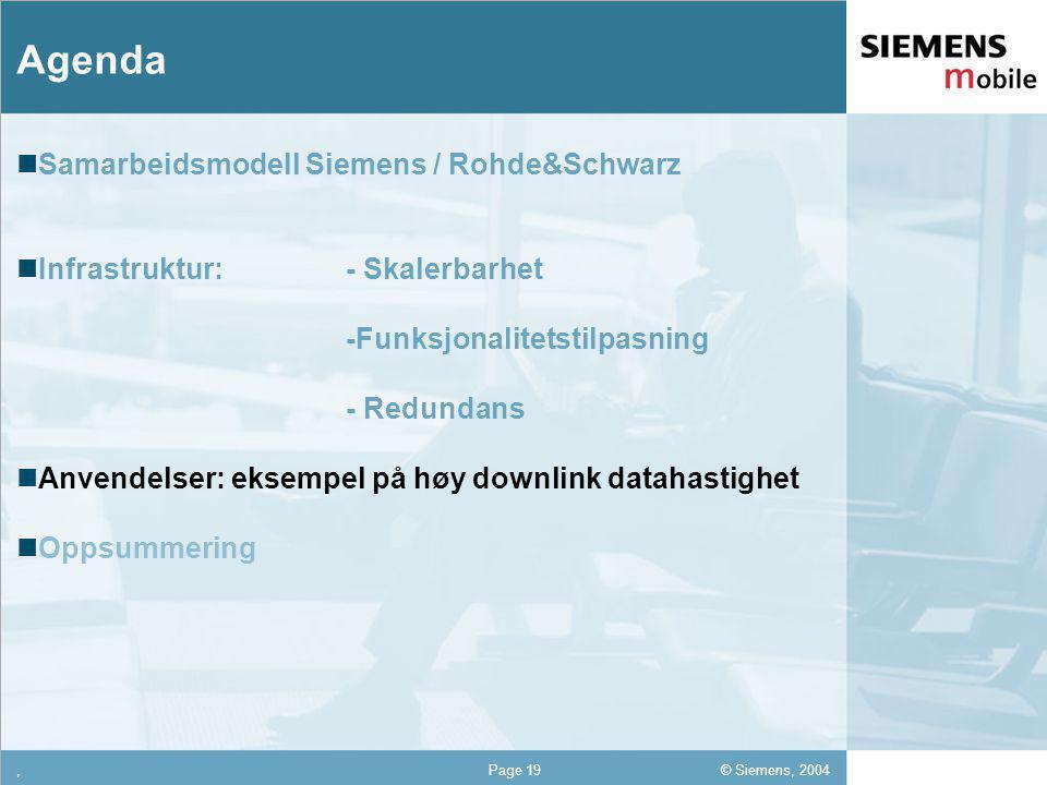 © Siemens, 2004 12,302,337,422,54 12,30 5,93 1,06 1,27 8,27,Page 19 Agenda Samarbeidsmodell Siemens / Rohde&Schwarz Infrastruktur: - Skalerbarhet -Funksjonalitetstilpasning - Redundans Anvendelser: eksempel på høy downlink datahastighet Oppsummering