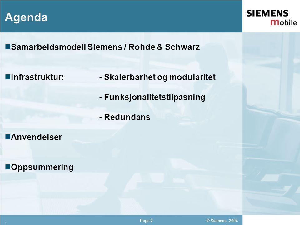 © Siemens, 2004 12,302,337,422,54 12,30 5,93 1,06 1,27 8,27,Page 2 Agenda Samarbeidsmodell Siemens / Rohde & Schwarz Infrastruktur: - Skalerbarhet og modularitet - Funksjonalitetstilpasning - Redundans Anvendelser Oppsummering