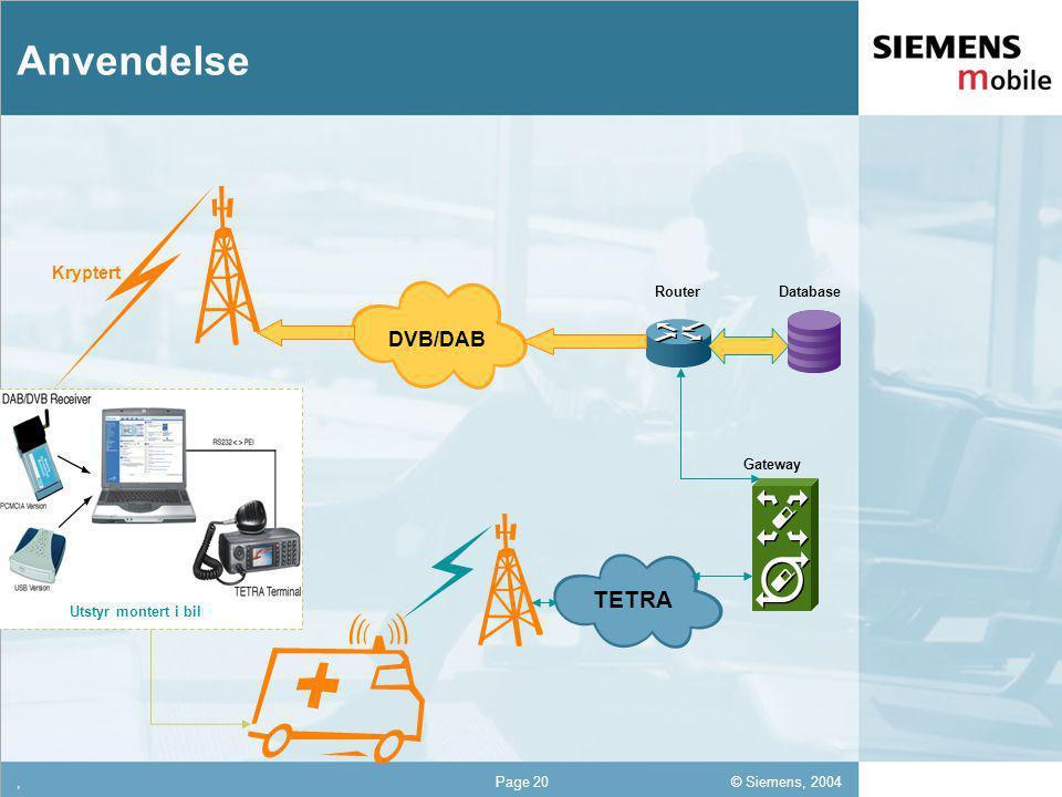 © Siemens, 2004 12,302,337,422,54 12,30 5,93 1,06 1,27 8,27,Page 20 Anvendelse TETRA DVB/DAB DatabaseRouter Gateway Utstyr montert i bil Kryptert