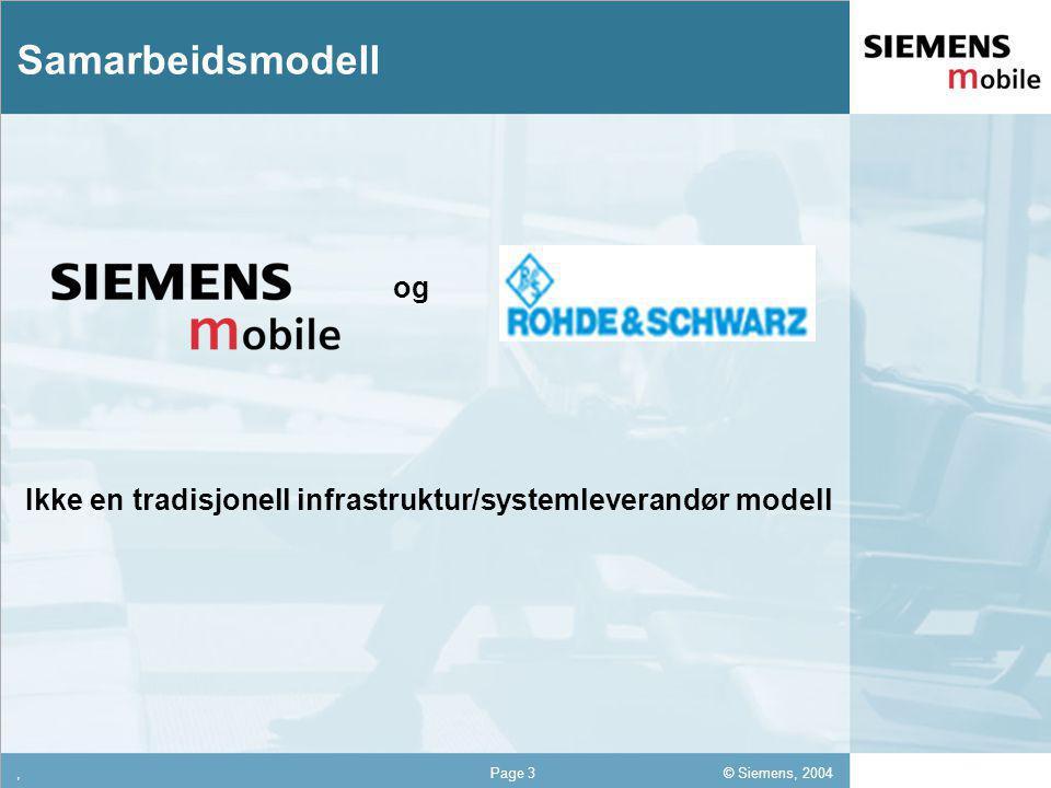 © Siemens, 2004 12,302,337,422,54 12,30 5,93 1,06 1,27 8,27,Page 3 Samarbeidsmodell og Ikke en tradisjonell infrastruktur/systemleverandør modell