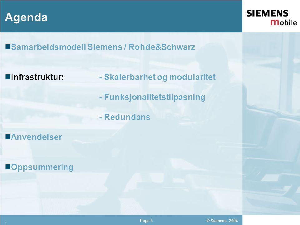 © Siemens, 2004 12,302,337,422,54 12,30 5,93 1,06 1,27 8,27,Page 5 Agenda Samarbeidsmodell Siemens / Rohde&Schwarz Infrastruktur: - Skalerbarhet og modularitet - Funksjonalitetstilpasning - Redundans Anvendelser Oppsummering