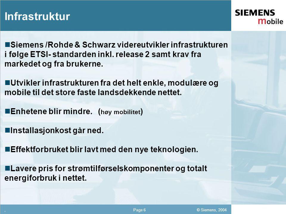 © Siemens, 2004 12,302,337,422,54 12,30 5,93 1,06 1,27 8,27,Page 6 Infrastruktur Siemens /Rohde & Schwarz videreutvikler infrastrukturen i følge ETSI- standarden inkl.