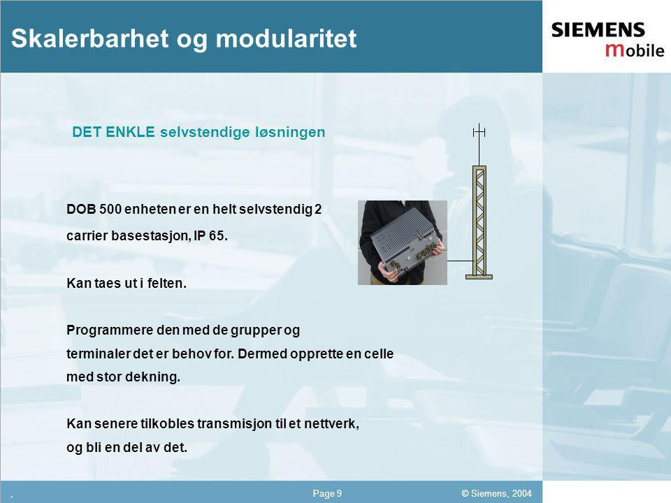 © Siemens, 2004 12,302,337,422,54 12,30 5,93 1,06 1,27 8,27,Page 9 Skalerbarhet og modularitet DOB 500 enheten er en helt selvstendig 2 carrier basestasjon, IP 65.