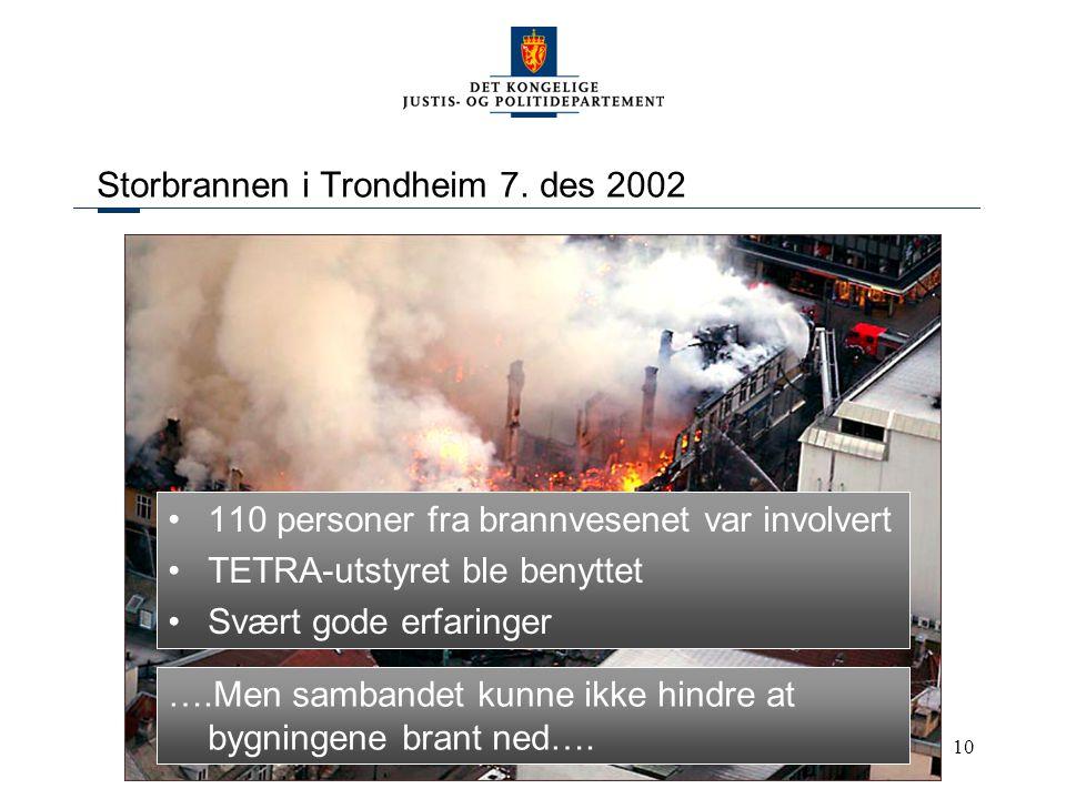 10 Storbrannen i Trondheim 7. des 2002 110 personer fra brannvesenet var involvert TETRA-utstyret ble benyttet Svært gode erfaringer ….Men sambandet k