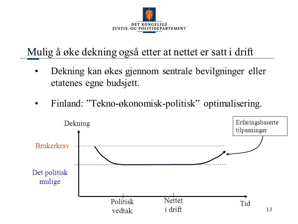 """13 Mulig å øke dekning også etter at nettet er satt i drift Dekning kan økes gjennom sentrale bevilgninger eller etatenes egne budsjett. Finland: """"Tek"""
