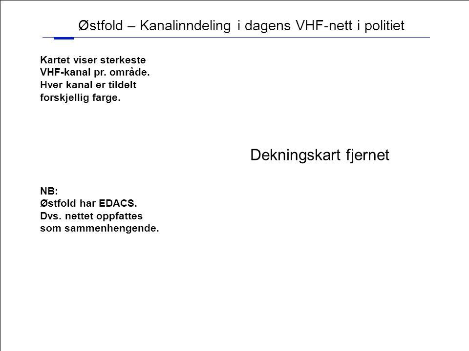 17 Østfold – Kanalinndeling i dagens VHF-nett i politiet Kartet viser sterkeste VHF-kanal pr. område. Hver kanal er tildelt forskjellig farge. NB: Øst