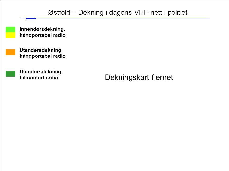 18 Østfold – Dekning i dagens VHF-nett i politiet Innendørsdekning, håndportabel radio Utendørsdekning, håndportabel radio Utendørsdekning, bilmontert