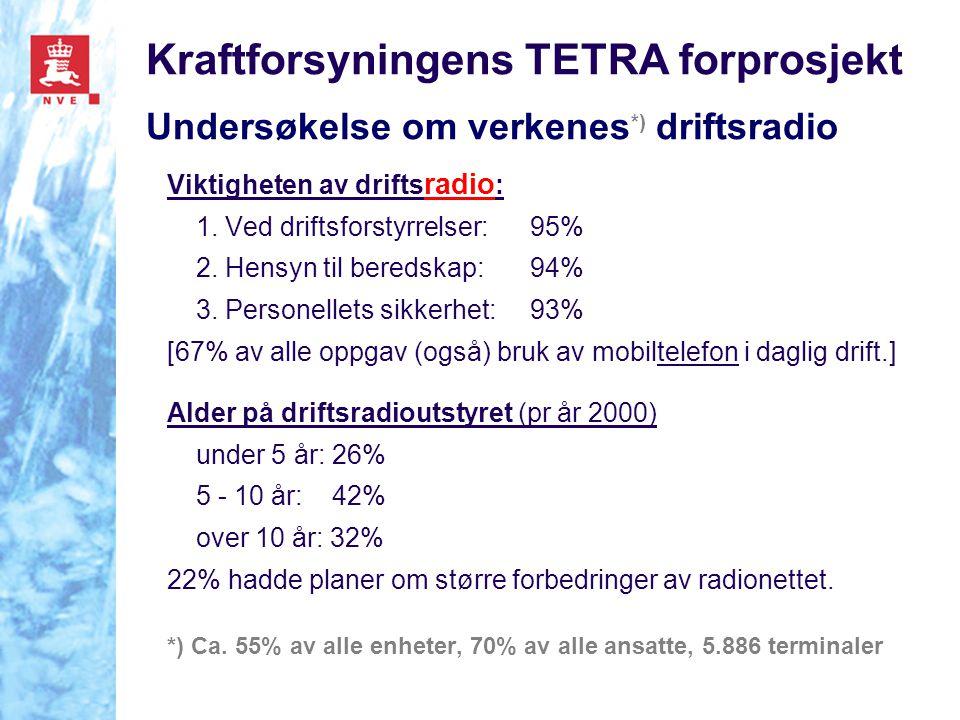 Kraftforsyningens TETRA forprosjekt Undersøkelse om verkenes *) driftsradio Viktigheten av drifts radio : 1. Ved driftsforstyrrelser:95% 2. Hensyn til