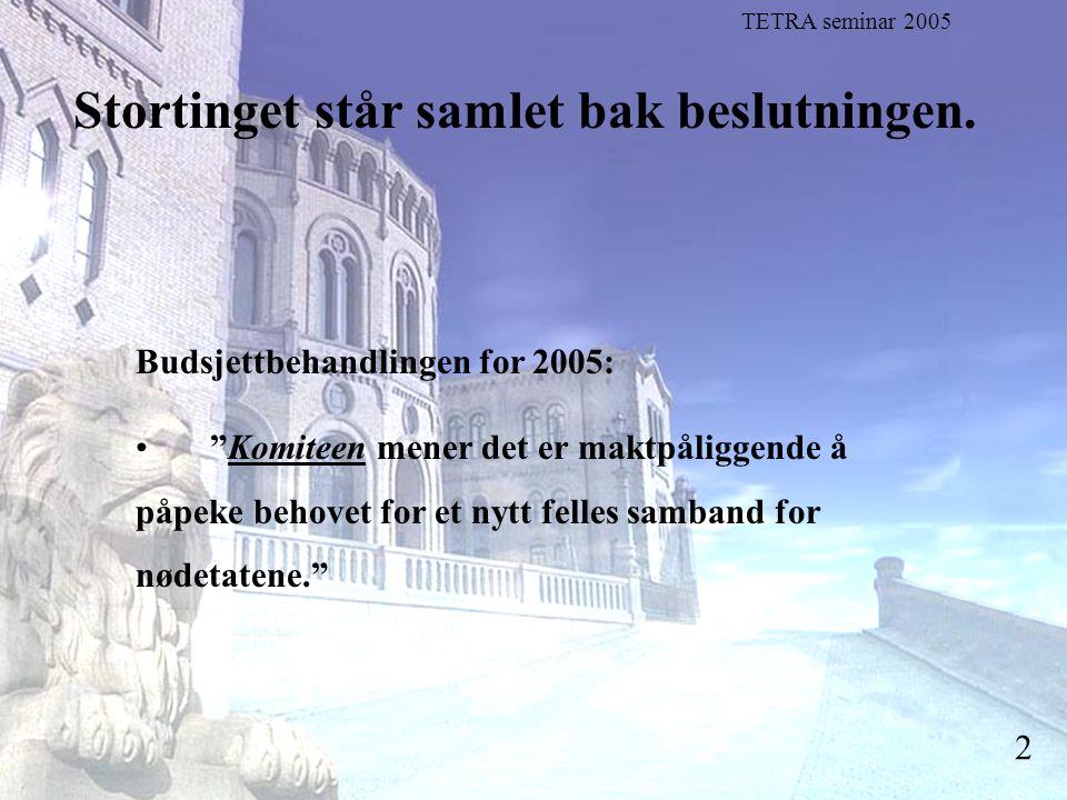 """Stortingsrepresentant Einar Holstad, KrF 2 Stortinget står samlet bak beslutningen. Budsjettbehandlingen for 2005: """"Komiteen mener det er maktpåliggen"""