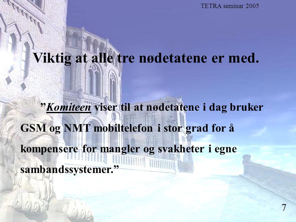"""Stortingsrepresentant Einar Holstad, KrF 7 Viktig at alle tre nødetatene er med. """"Komiteen viser til at nødetatene i dag bruker GSM og NMT mobiltelefo"""