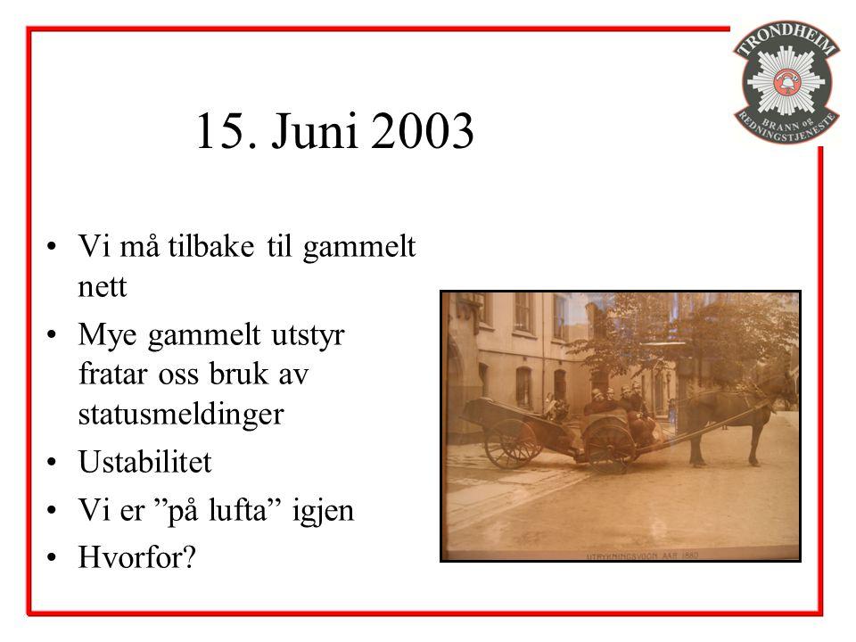 """15. Juni 2003 Vi må tilbake til gammelt nett Mye gammelt utstyr fratar oss bruk av statusmeldinger Ustabilitet Vi er """"på lufta"""" igjen Hvorfor?"""