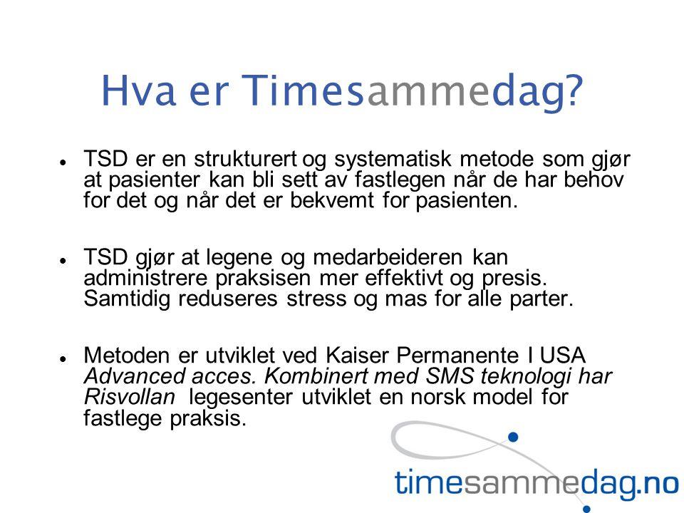 Hva er Timesammedag? TSD er en strukturert og systematisk metode som gjør at pasienter kan bli sett av fastlegen når de har behov for det og når det e