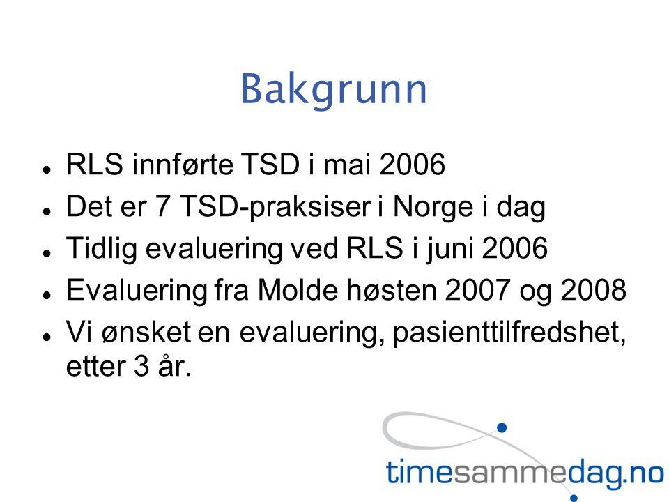 Bakgrunn RLS innførte TSD i mai 2006 Det er 7 TSD-praksiser i Norge i dag Tidlig evaluering ved RLS i juni 2006 Evaluering fra Molde høsten 2007 og 2008 Vi ønsket en evaluering, pasienttilfredshet, etter 3 år.
