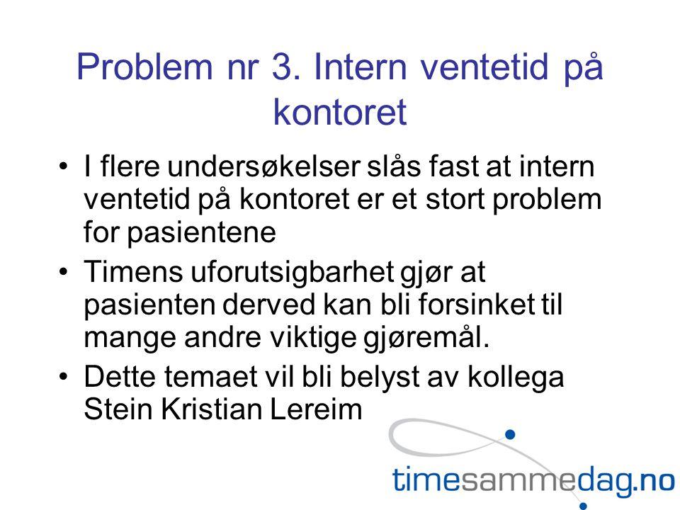 Problem nr 3. Intern ventetid på kontoret I flere undersøkelser slås fast at intern ventetid på kontoret er et stort problem for pasientene Timens ufo