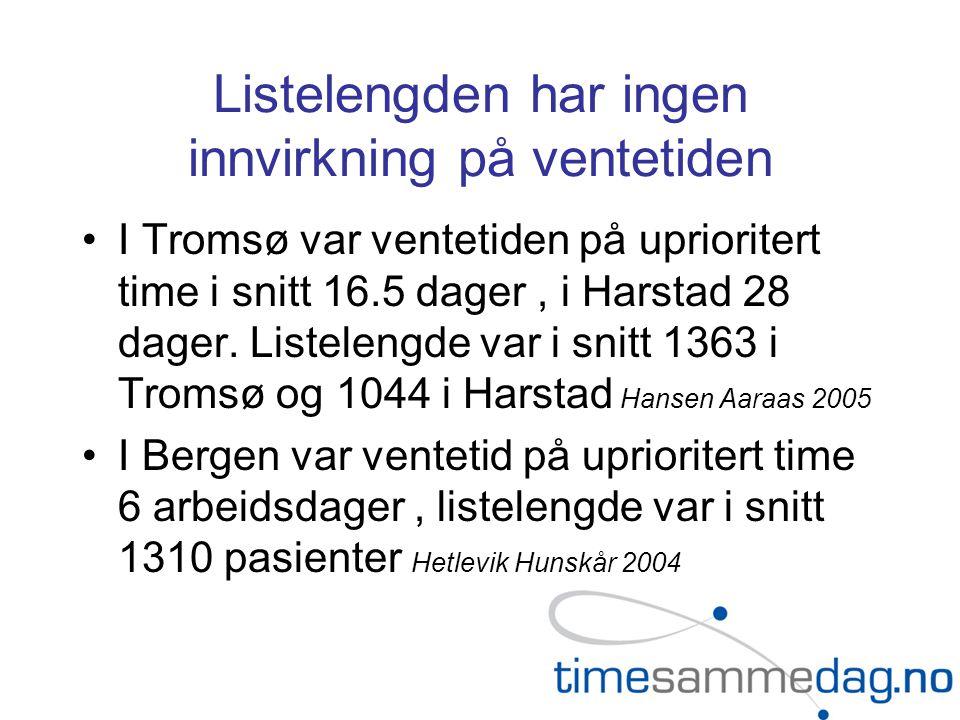 Listelengden har ingen innvirkning på ventetiden I Tromsø var ventetiden på uprioritert time i snitt 16.5 dager, i Harstad 28 dager. Listelengde var i